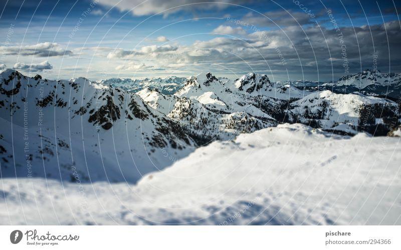 Blue Clouds Landscape Winter Far-off places Mountain Cold Snow Horizon Adventure Peak Snowcapped peak