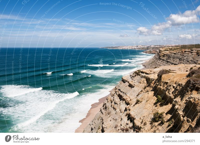 closer to the edge Environment Nature Landscape Elements Water Sky Clouds Horizon Summer Beautiful weather Warmth Drought Rock Waves Coast Beach Bay Ocean