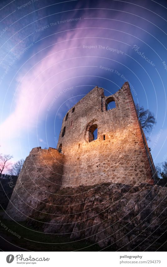 long time ago Nature Sky Clouds Beautiful weather Tree Hill Rock Freiburg im Breisgau Castle Ruin Wall (barrier) Wall (building) Facade Window Adventure