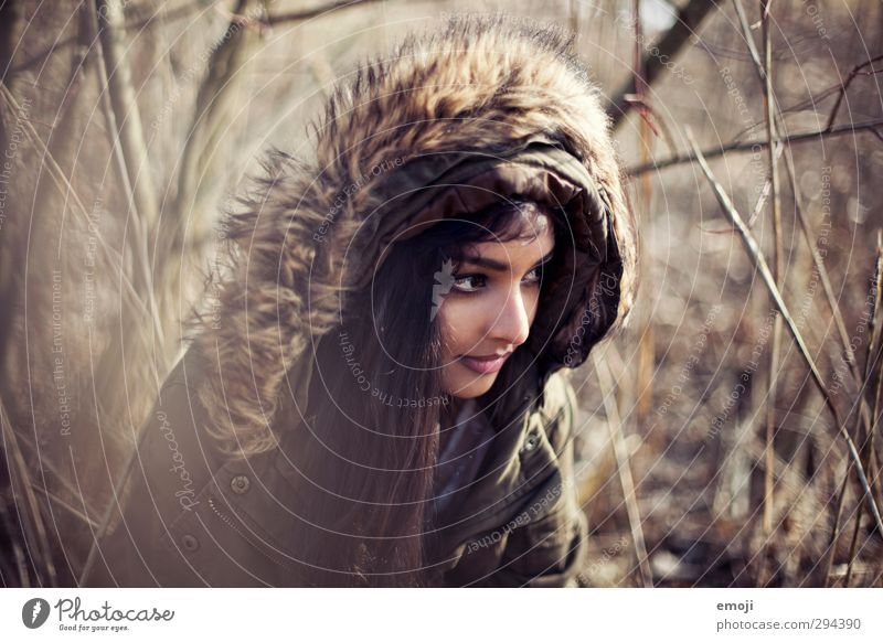 Human being Nature Youth (Young adults) Beautiful Young woman Adults Environment Feminine 18 - 30 years Common Reed Hooded (clothing) Fur coat