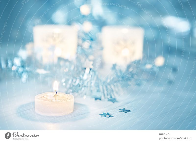 candlelight Feasts & Celebrations Christmas & Advent Candle Sign Star (Symbol) Christmas decoration Christmas fairy lights Blue White Colour photo Interior shot