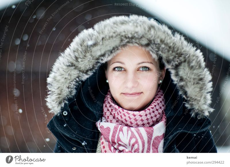 Human being Youth (Young adults) Beautiful Winter Young woman Adults Face Eyes Life Feminine 18 - 30 years Head Snowfall Ice Mouth Smiling