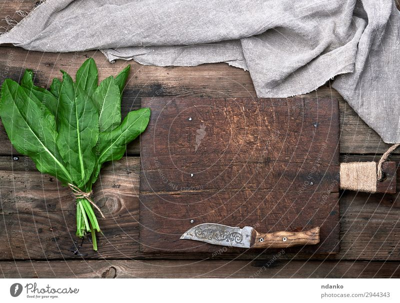 bunch of fresh green sorrel leaves Vegetable Soup Stew Herbs and spices Vegetarian diet Knives Table Rope Nature Plant Leaf Wood Fresh Above Gray Green Sorrel