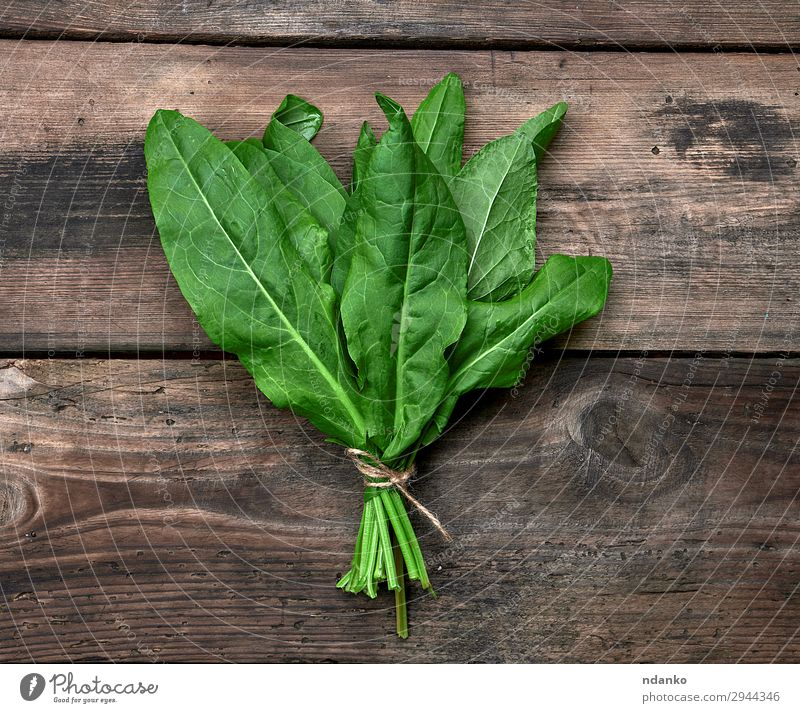 bunch of fresh green leaves of sorrel Vegetable Soup Stew Herbs and spices Vegetarian diet Table Rope Nature Plant Leaf Wood Fresh Above Green Sorrel Raw