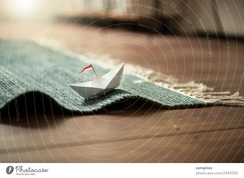 Small paper ship on carpet (waves) Lifestyle Joy Happy Healthy Wellness Harmonious Well-being Vacation & Travel Cruise Summer Summer vacation Beach Waves