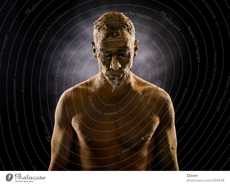 RISEN FROM POWER Style Masculine Young man Youth (Young adults) 1 Human being 30 - 45 years Adults Sculpture Earth Sand Mask Short-haired Stand Dream Sadness