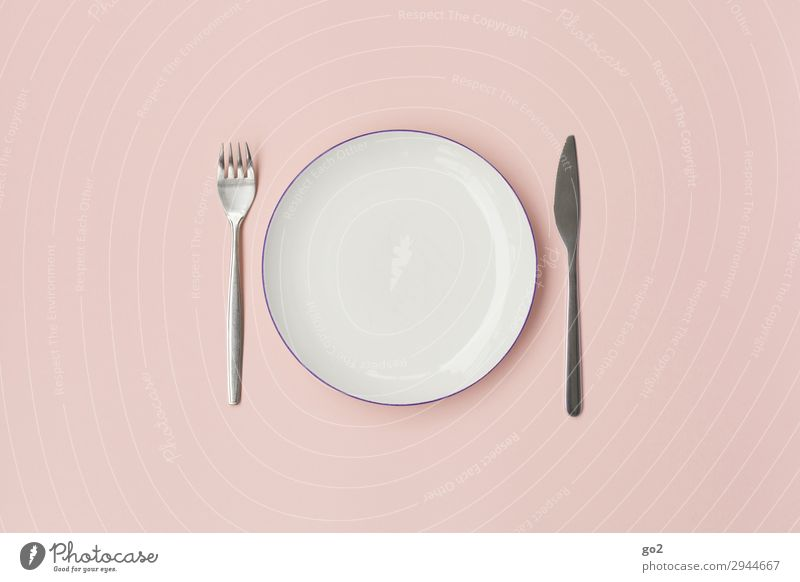 fork, plate, knife Nutrition Lunch Dinner Diet Fasting Crockery Plate Cutlery Knives Fork Healthy Eating Esthetic Pink Orderliness Modest Refrain Thrifty