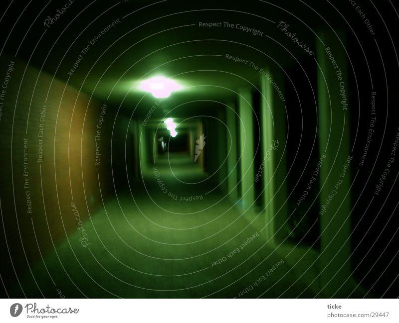 Gang in the dark Night Brick Green Light Architecture Column Corridor