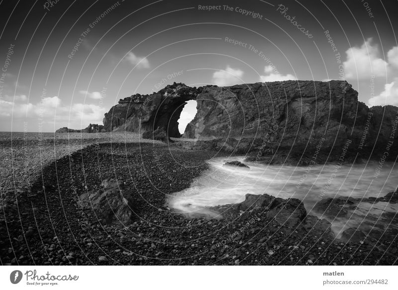 gates of heaven Landscape Water Sky Clouds Horizon Weather Beautiful weather Rock Waves Coast Beach Ocean Black White Black & white photo Exterior shot Deserted