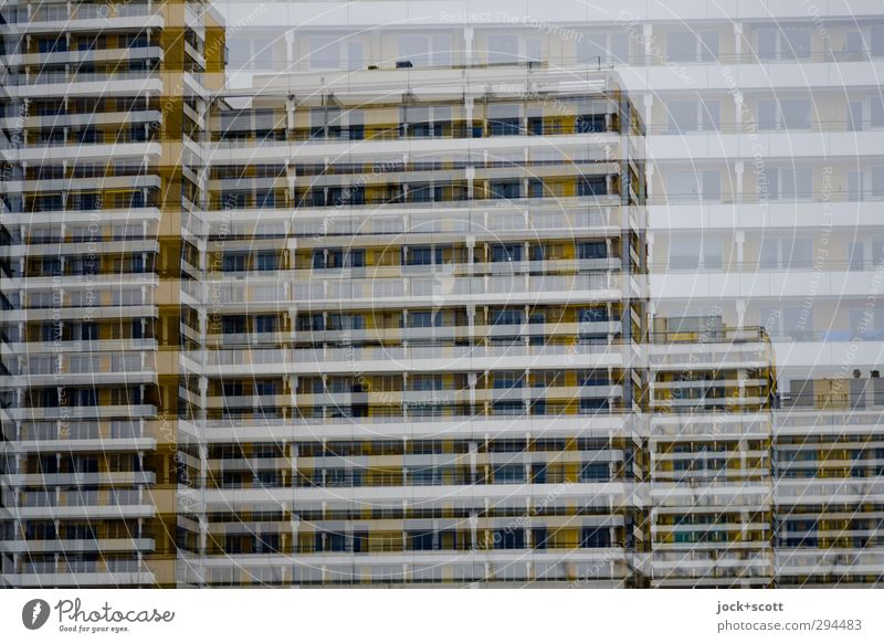 Far-off places Cold Architecture Building Style Line Above Facade Gloomy High-rise Perspective Concrete Stripe Transience Near Irritation