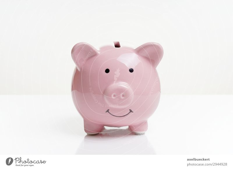 piggy bank Financial Industry Financial institution Business Pink Money box Swine Save Financial Crisis Colour photo Interior shot Studio shot Copy Space left