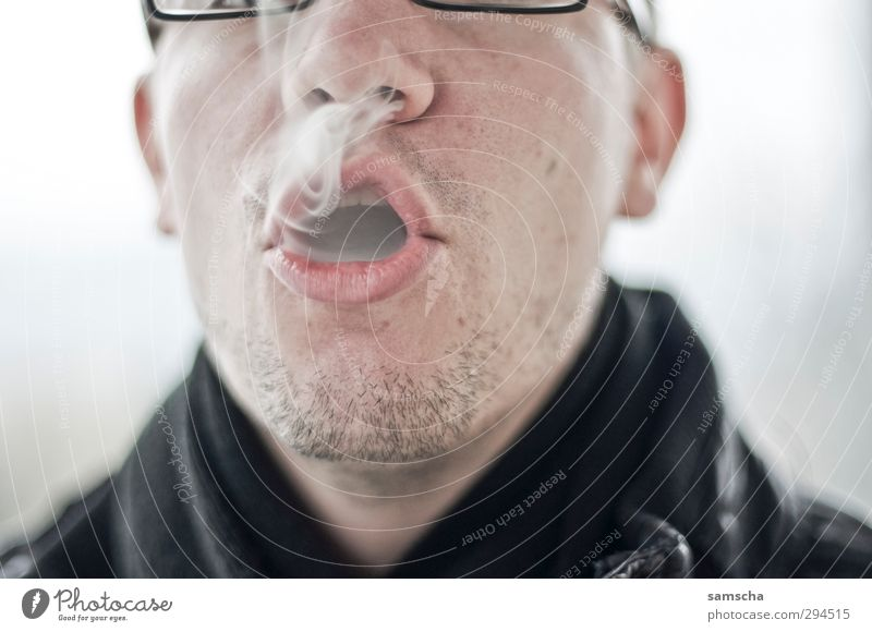smoking pleasure Smoking Human being Masculine Man Adults Head Face Nose Mouth 1 Cold Smoke Smoky Cigarette Cigarette smoke Breathe Lips To enjoy Debauchery