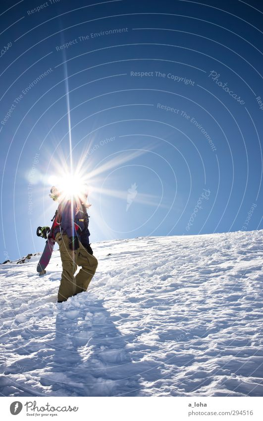 100 suns Lifestyle Sports Winter sports Snowboard Human being Masculine Man Adults Environment Nature Elements Cloudless sky Sun Sunlight Beautiful weather Alps