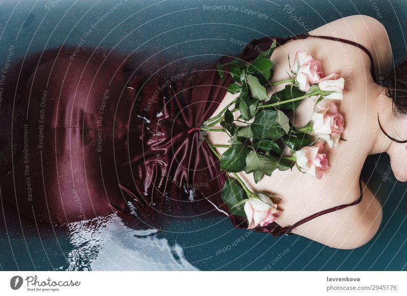 woman's back in purple dress filled with roses lying in bathtub Swimming & Bathing Bathroom Bathtub Beautiful Beauty Photography Flower Blossom Blue Decoration