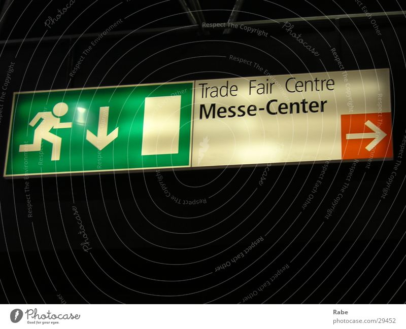 Signs and labeling Technology Arrow Signage Trade fair Duesseldorf Road marking Electrical equipment Emergency exit Trend-setting