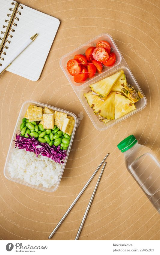 Healthy asian-style vegan bento box Pen Notebook Planer Bottle Water Tomato Cut Pineapple Red cabbage Tasty Cooking metal chopsticks take away lunch box