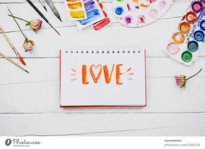 stationery and art supplies on white wooden background Artist Beautiful Brush Business Multicoloured Conceptual design Creativity Decoration Design Desk