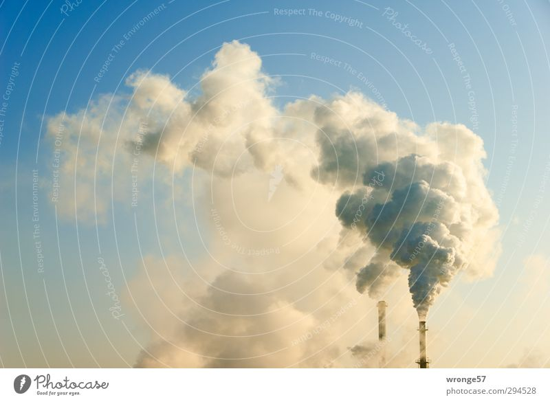 Blue Warmth Gray Germany Energy industry Tall Closed Europe Industry Beautiful weather Many Cloudless sky Exhaust gas Chimney Climate change Go up