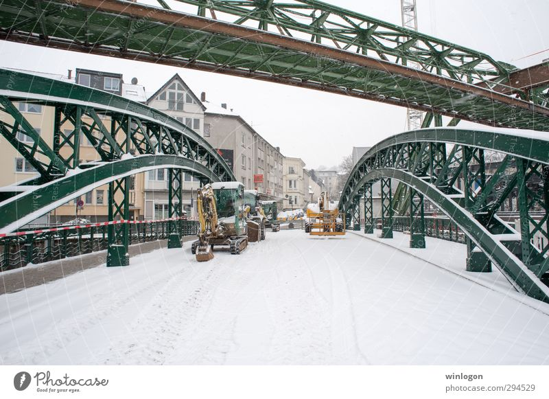 aerial tramway Professional training Apprentice Work and employment Construction site Economy Industry Winter Snow Wuppertal Germany Town Bridge