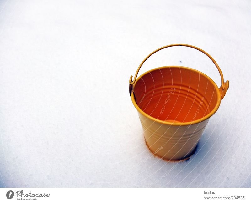 fill it up Winter Snow Tin Box Metal Clean Yellow Orange White Colour photo Exterior shot Close-up Deserted Neutral Background Day Sunlight Bird's-eye view