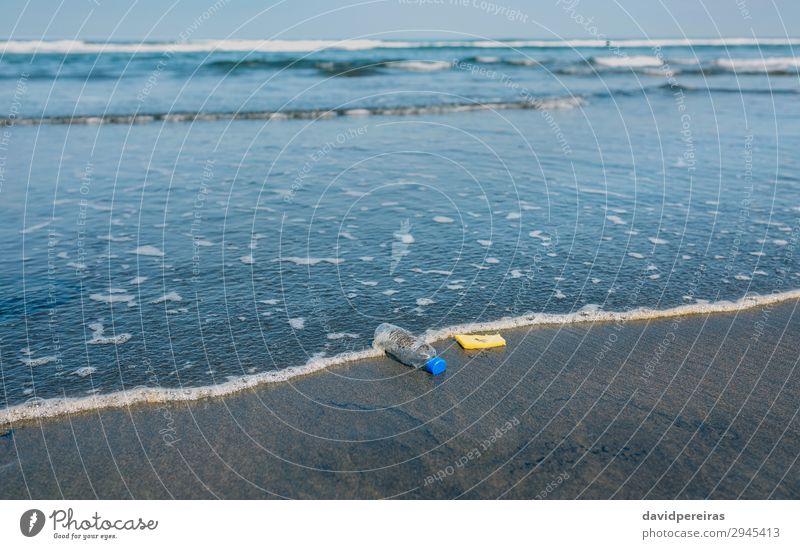 Garbage on the seashore Beach Ocean Environment Nature Landscape Sand Coast Tin Plastic Dirty Disaster Environmental pollution contamination plastic bottle