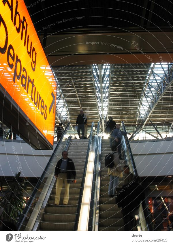 rolling home Departure Escalator Aviation Airport Hamburg Warehouse