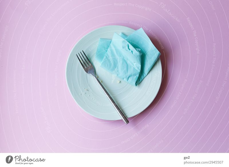 Empty plate Nutrition Breakfast Lunch Dinner Crockery Plate Cutlery Fork Living or residing Napkin Eating Delicious Appetite End To enjoy