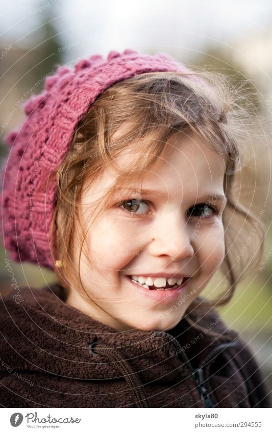 magic mouse Girl Child Joy Looking into the camera Funny Face Infancy Childhood memory Cap winter portrait Cold Laughter Smiling Beautiful