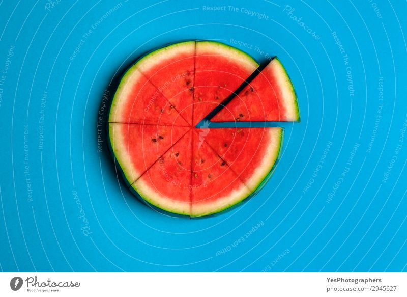 Sliced watermelon on blue background. Above view. Vacation & Travel Healthy Eating Summer Blue Red Lifestyle Fruit Fresh Symbols and metaphors Summer vacation