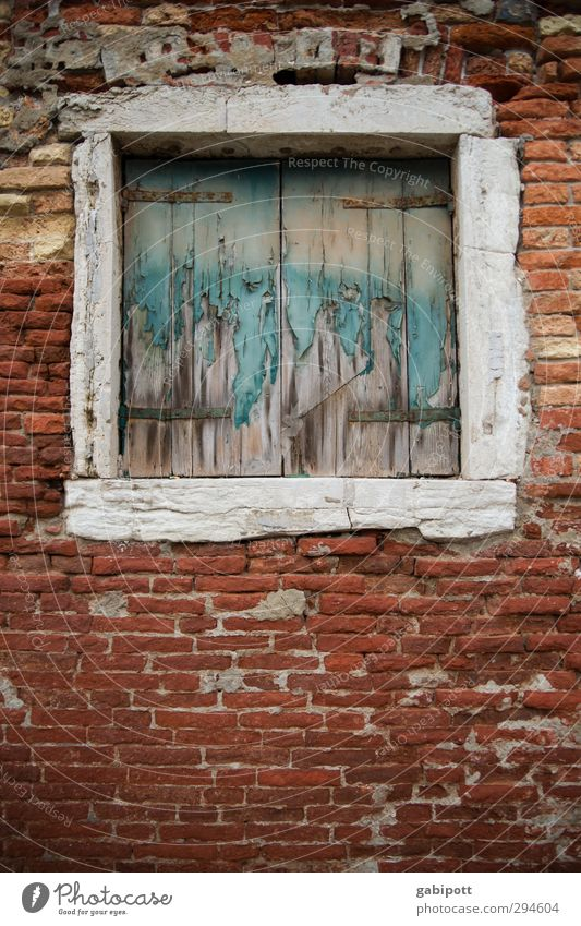 Window also to Venice Old town House (Residential Structure) Wall (barrier) Wall (building) Facade Stone Gloomy Brick Brick facade Wood Derelict Colour