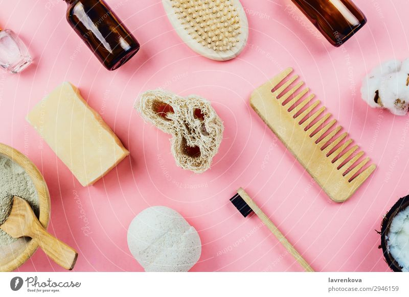 various zero-waste beauty and bath products Soap Facial care Organic Eco-friendly Comb Pastel tone Bamboo Bathroom Beauty Photography Brush Clay coconut oil