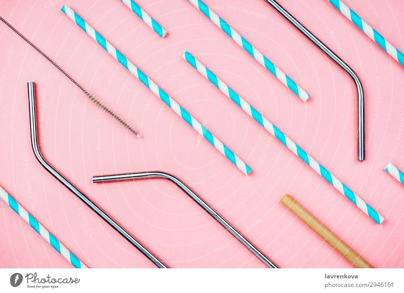 Eco straws: paper, metal and bamboo with special brush Lifestyle Pink Metal Beverage Sustainability Ecological Straw Bamboo