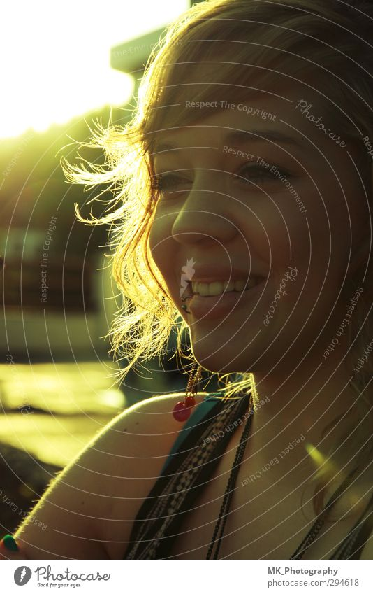 smiling sunset Feminine Young woman Youth (Young adults) 1 Human being 18 - 30 years Adults Sunrise Sunset Sunlight Summer Beautiful weather Piercing Curl