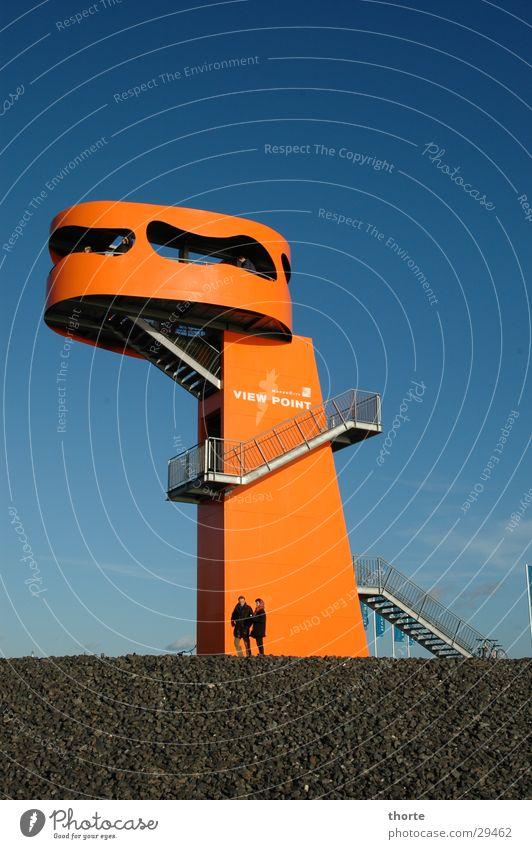 Godzilla's son Harbor city Architecture Hamburg Orange Vantage point Stairs Blue