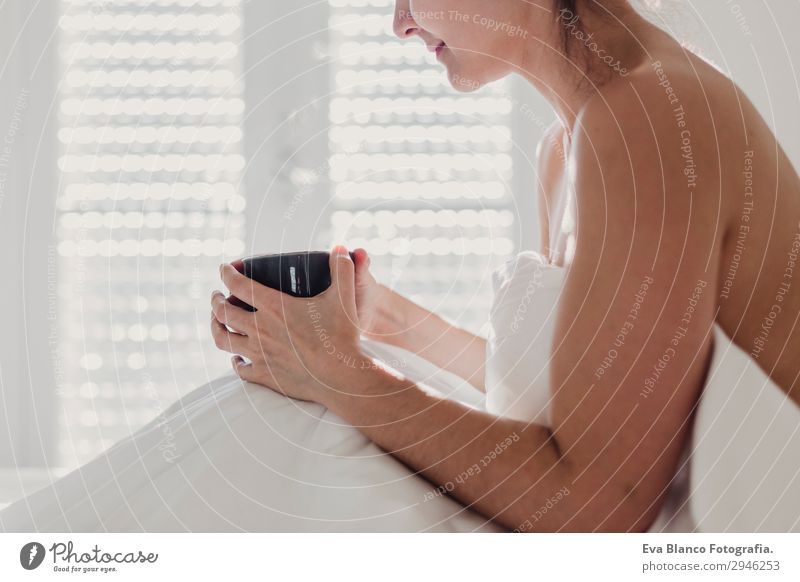 woman on bed enjoying a cup of coffee. morning Woman Human being Youth (Young adults) Young woman Naked Beautiful White Sun Eroticism