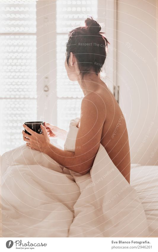 woman on bed enjoying a cup of coffee. morning Woman Human being Youth (Young adults) Young woman Naked Summer Beautiful White Sun Eroticism