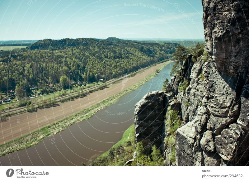 Elbe run Mountain Environment Nature Landscape Sky Spring Climate Beautiful weather Forest Rock River bank Authentic Large Tall Natural Wild Blue Green