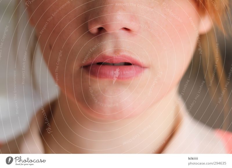 pink Lips Mouth Red-haired Blouse Pink Apricot Nose Face Close-up Neck Shallow depth of field Portrait photograph Light Mole Beautiful Think Meditative Cheek