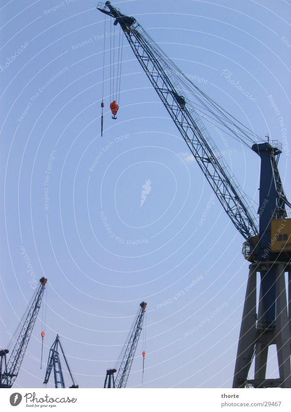 crane Crane Navigation Hamburg Harbour Sky Blue