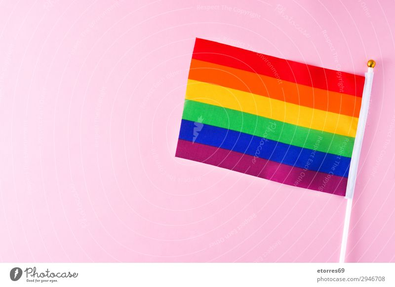 LGTB or rainbow flag. Gay pride flag. on pink background. Colour Red Yellow Movement Freedom Symbols and metaphors Flag Homosexual Rainbow Pride Transgender