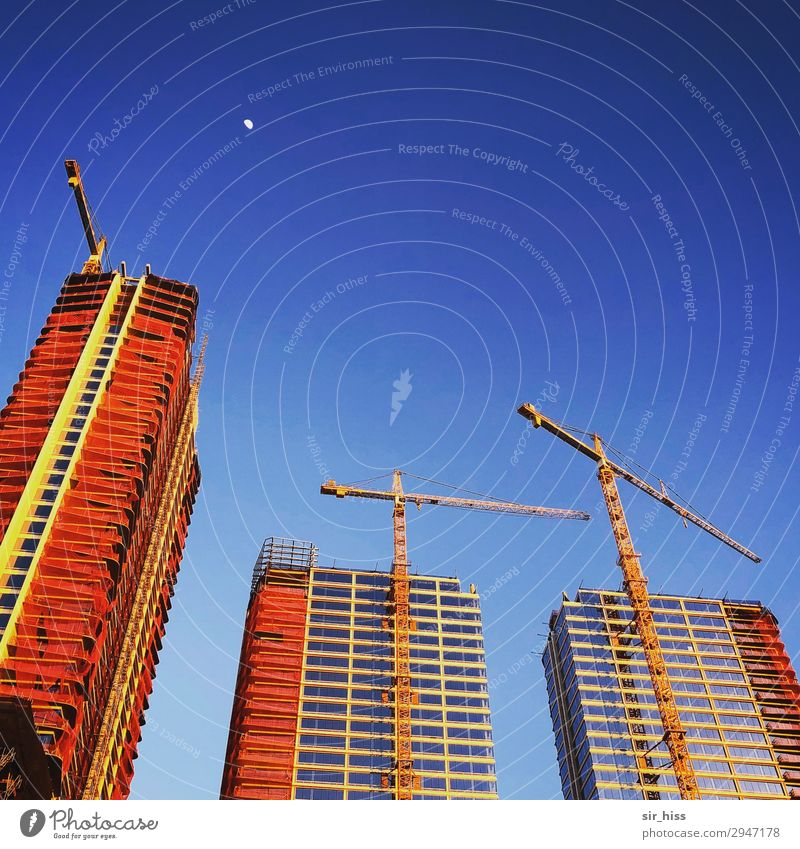 sunrise Construction site Los Angeles Skyline House (Residential Structure) High-rise Modern Town Blue Gold Red Crane Moon Ballet Colour photo Copy Space top