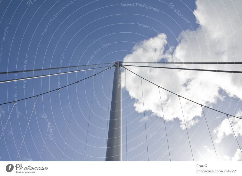 divided sky - ray of hope Sky Clouds Sunlight Summer Beautiful weather Bridge Metal Line Blue Gray White Center point Network Bridge pier Wire cable