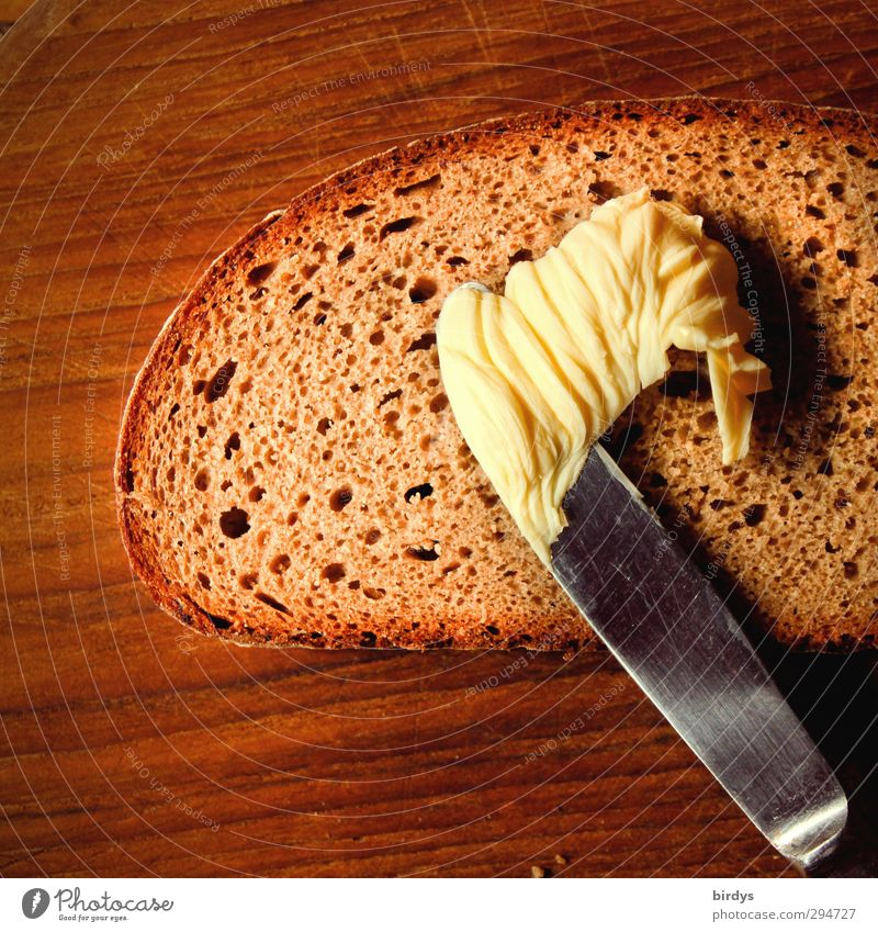 bread + butter Food Bread Butter Sandwich Nutrition Knives Wood Painting (action, work) Esthetic Simple Delicious Original Positive Brown Yellow Red Appetite