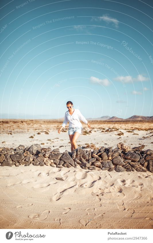 #A# Northern Walk Art Work of art Esthetic Wall (barrier) To go for a walk Fuerteventura Woman Walking Running sports Vacation & Travel Vacation photo