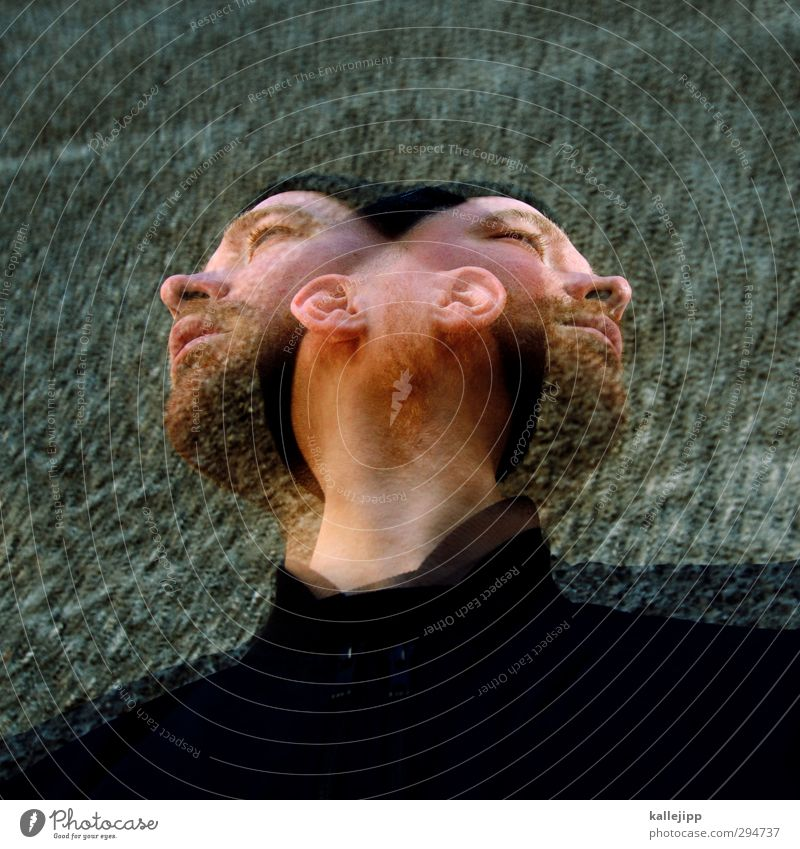 martinis Head Hair and hairstyles Facial hair 1 Human being Cap Movement Double exposure Janus Alcohol-fueled Colour photo Exterior shot Experimental Day Light