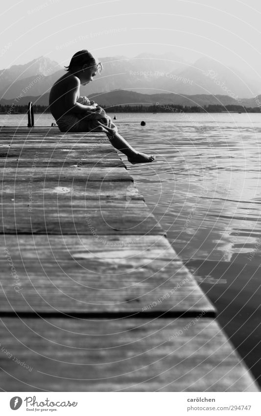 summer sadness Leisure and hobbies Sit Lakeside Footbridge Cold Sadness Freeze Summer Summery Swimming & Bathing Break Dream Black & white photo Exterior shot