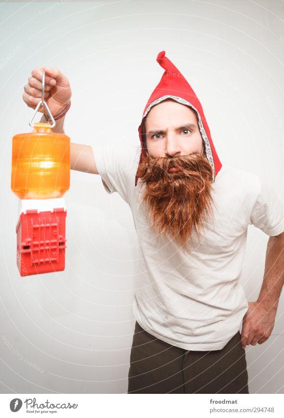 dwarf grove Human being Masculine Man Adults 1 Cap Brunette Facial hair Beard Observe Illuminate Looking Funny Trashy Joy Santa Claus hat Lampion Flash signal