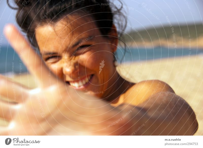 Youth (Young adults) Vacation & Travel Beautiful Summer Hand Sun Ocean Beach Young woman Face Far-off places Eyes Feminine Hair and hairstyles Freedom Head