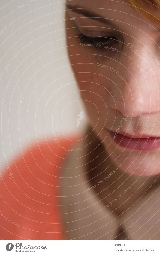 Greta Portrait photograph Nose Mouth Partially visible salmon-coloured Orange Pink Blur Shallow depth of field Downward Collar Blouse Think Meditative Sadness