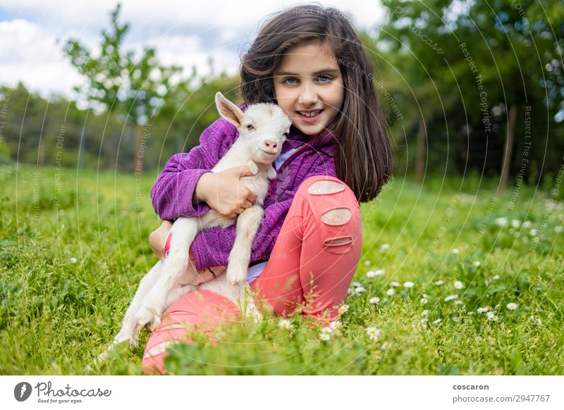 Little girl hugging a goat on a field Woman Child Human being Vacation & Travel Nature Summer Plant Beautiful Green White Tree Flower Relaxation Animal Girl